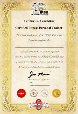 IFBB国际资格证书
